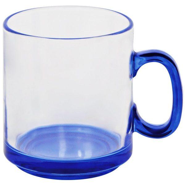Кружка Joyful прозрачно-синяя с нанесением логотипа