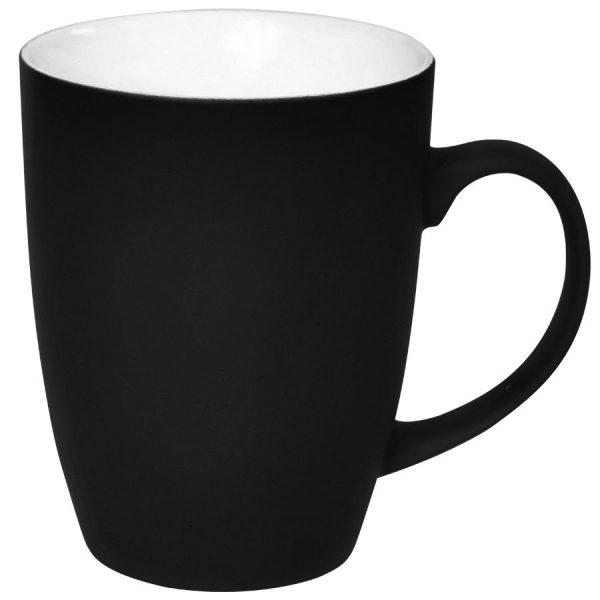 Кружка Sweet черная с прорезиненным покрытием с нанесением логотипа