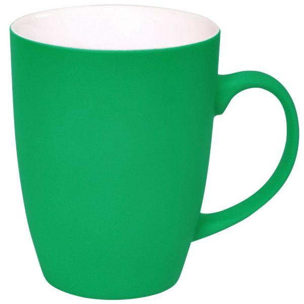 Кружка Sweet зеленая с прорезиненным покрытием с нанесением логотипа