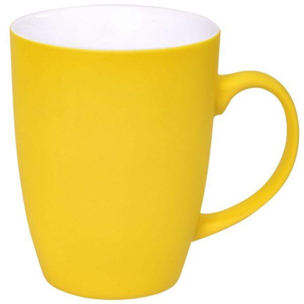 Кружка Sweet желтая с прорезиненным покрытием с нанесением логотипа