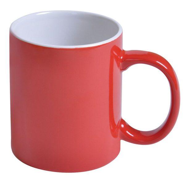 Кружка керамическая красная с нанесением логотипа