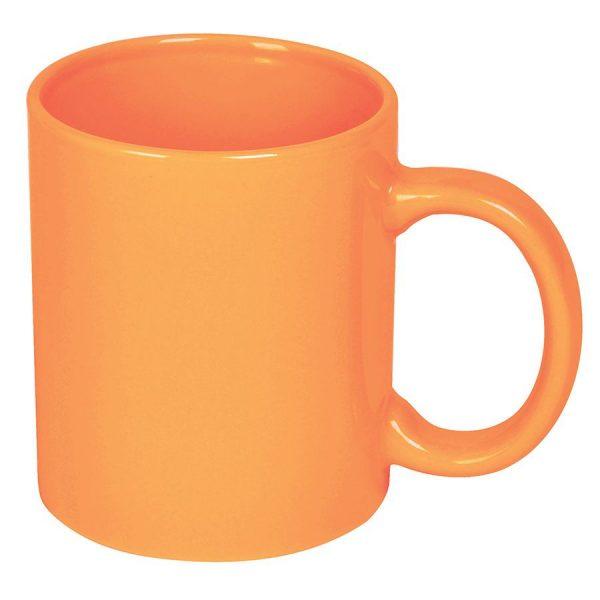 Кружка керамическая оранжевая с нанесением логотипа
