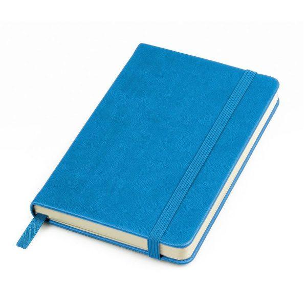 Блокнот А6 Casual, твердая обложка, клетка голубой с нанесением логотипа