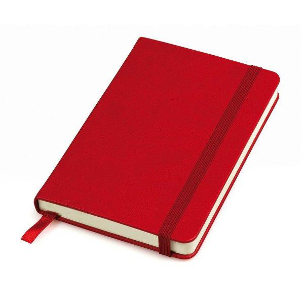 Блокнот А6 Casual, твердая обложка, клетка красный с нанесением логотипа