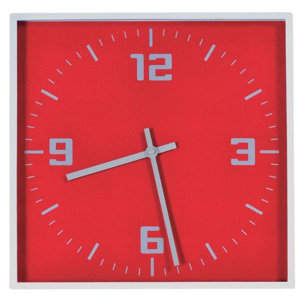Часы настенные КВАДРАТ красные с нанесением логотипа