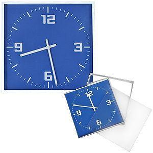 Часы настенные КВАДРАТ синие с нанесением логотипа