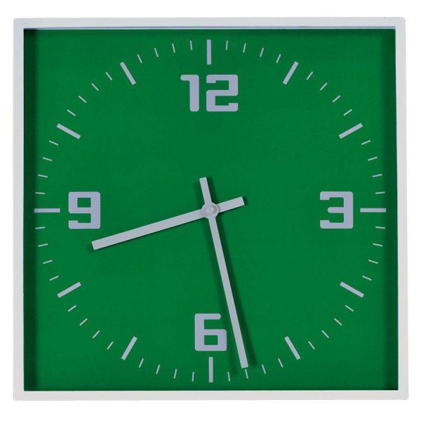 Часы настенные КВАДРАТ зеленые с нанесением логотипа