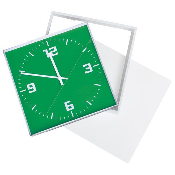 Часы настенные КВАДРАТ зеленые с нанесением логотипа развертка 1