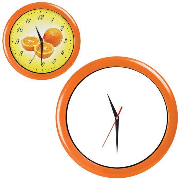 Часы настенные ПРОМО разборные оранжевые с нанесением логотипа