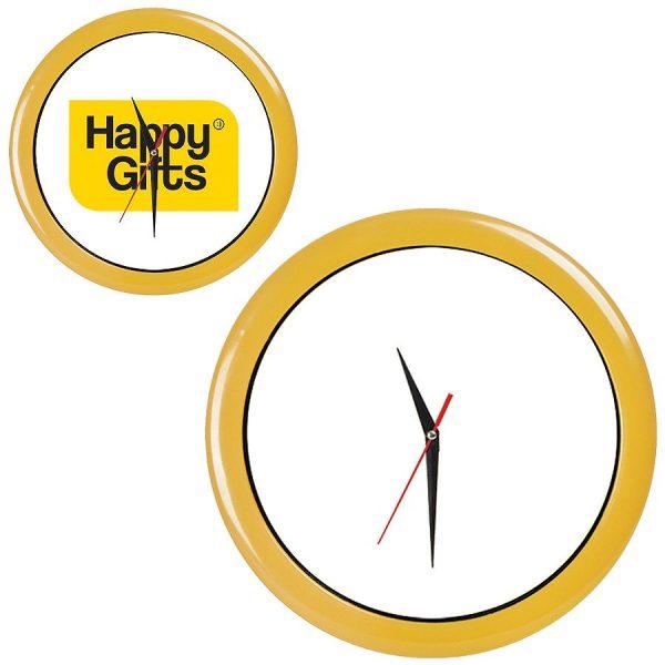 Часы настенные ПРОМО разборные желтые с нанесением логотипа