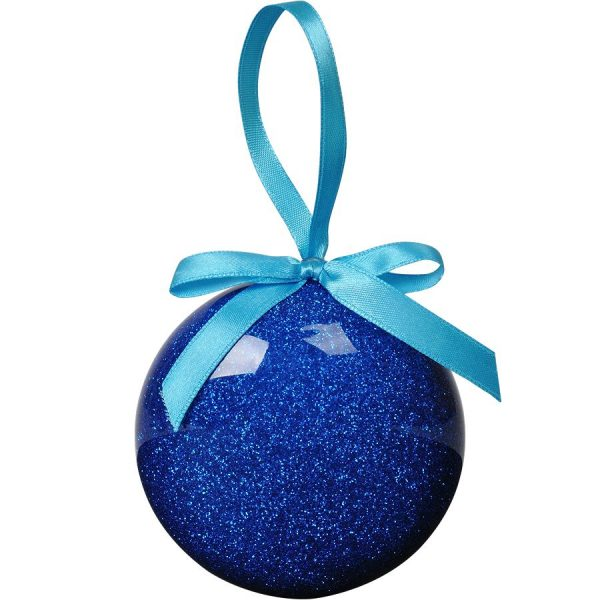 Елочное украшение ШАР плоский синий с нанесением логотипа