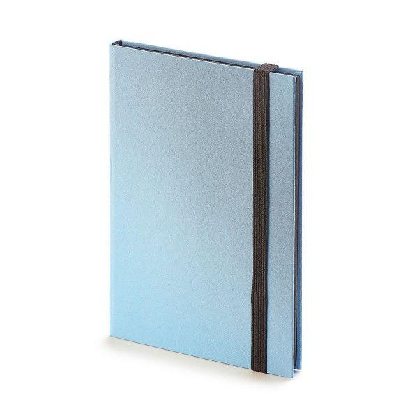 Еженедельник недатированный Tango, B6, бежевый блок, черный обрез, ляссе голубой с нанесением логотипа