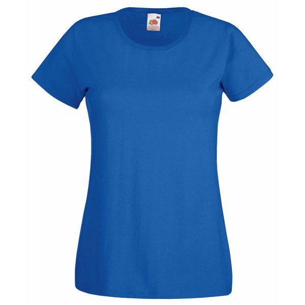 Футболка женская Lady-Fit Valueweight T синяя с нанесением логотипа