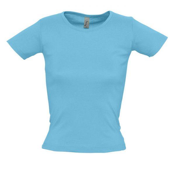 Футболка женская Lady O голубая с нанесением логотипа