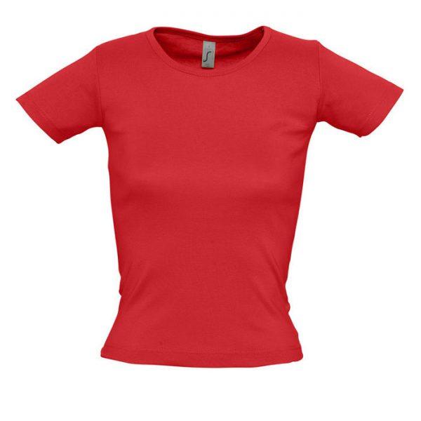 Футболка женская Lady O красная с нанесением логотипа