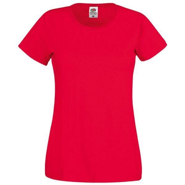 Футболка женская Original T красная с нанесением логотипа