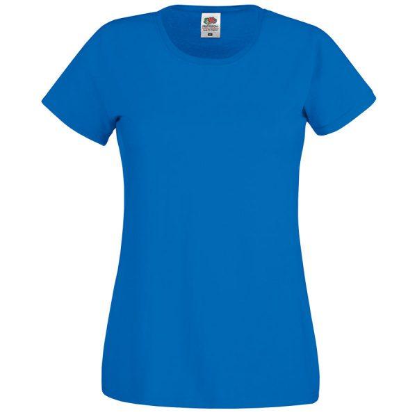 Футболка женская Original T синяя с нанесением логотипа