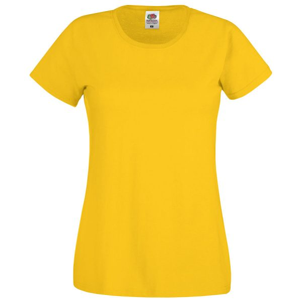 Футболка женская Original T желтая с нанесением логотипа