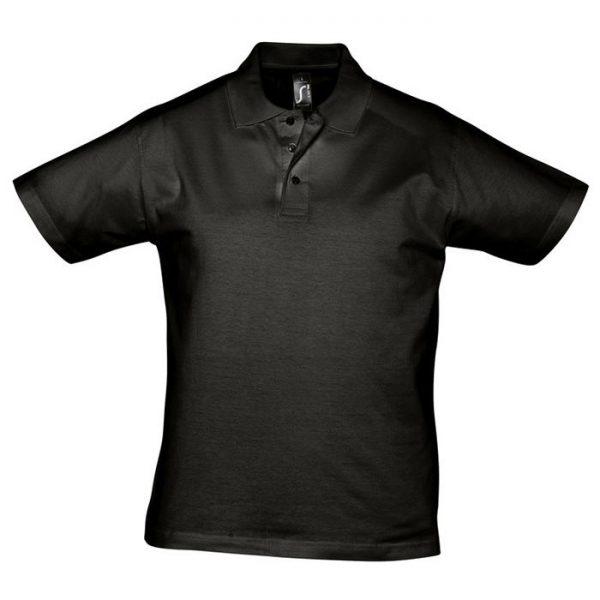 Поло мужское Prescott Men черное с нанесением логотипа
