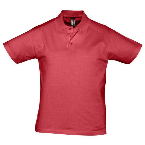 Поло мужское Prescott Men красное с нанесением логотипа