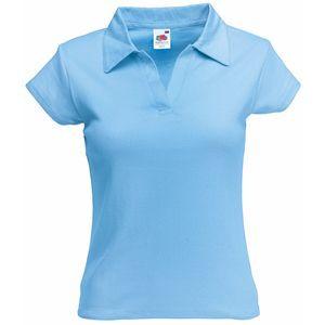 Поло женское Lady-Fit Rib Polo голубое с нанесением логотипа