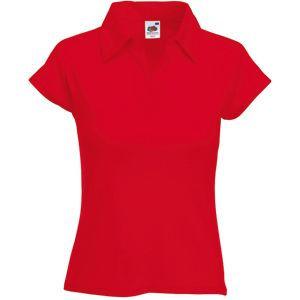 Поло женское Lady-Fit Rib Polo красное с нанесением логотипа