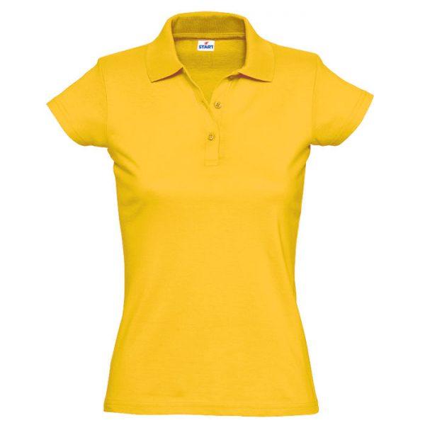 Поло женское Miss Style желтое с нанесением логотипа