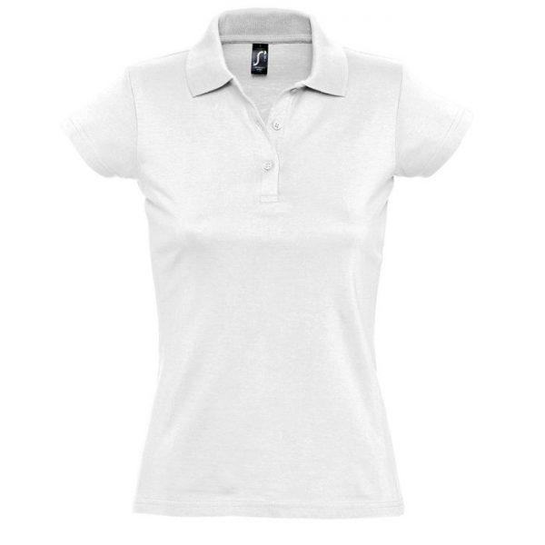Поло женское Prescott Women белое с нанесением логотипа