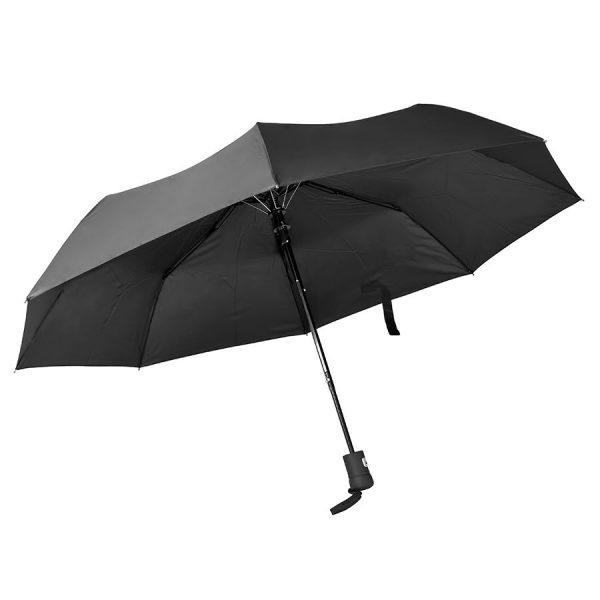 Зонт складной Hebol, полуавтомат черный с нанесением логотипа