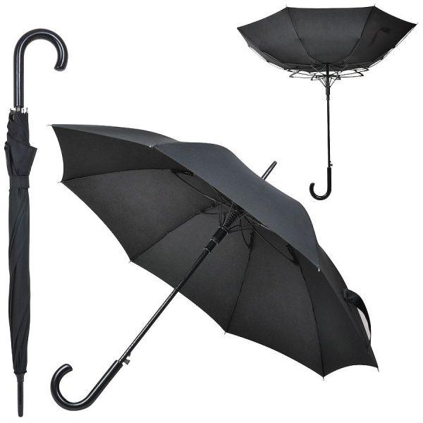 Зонт-трость Anti Wind черный с нанесением логотипа
