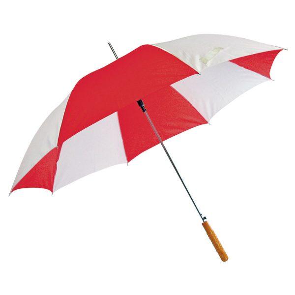 Зонт-трость Joy с деревянной ручкой, полуавтомат бело-красный с нанесением логотипа