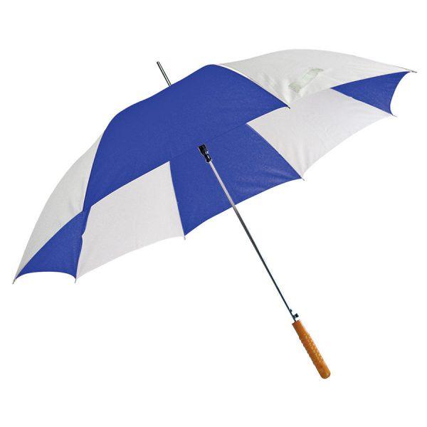 Зонт-трость Joy с деревянной ручкой, полуавтомат бело-синий с нанесением логотипа