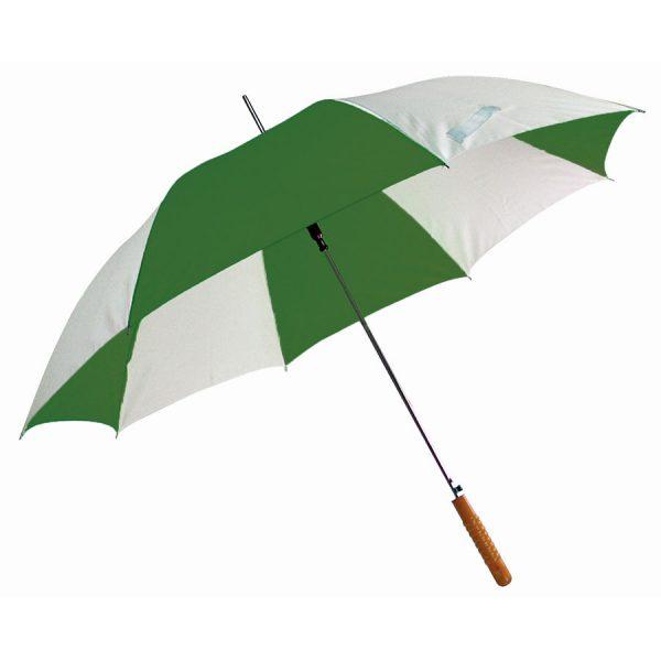 Зонт-трость Joy с деревянной ручкой, полуавтомат бело-зеленый с нанесением логотипа