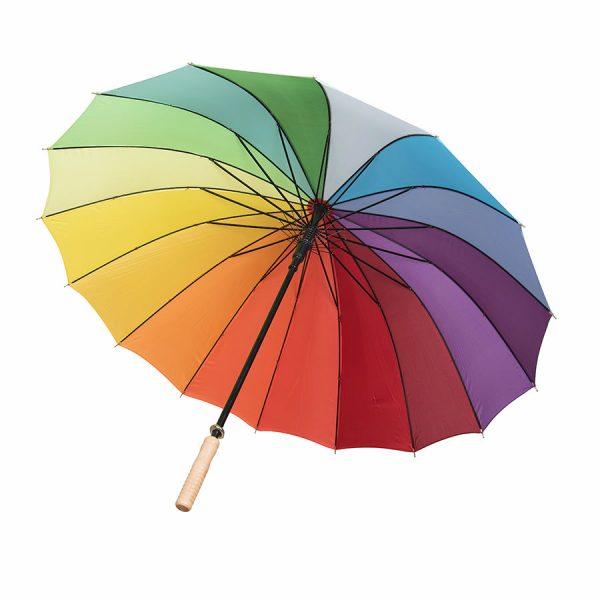 Зонт-трость Радуга (полуавтомат) 16 разноцветных клиньев с нанесением логотипа