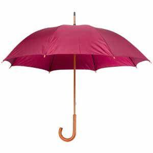 Зонт-трость механический, деревянная ручка бордовый с нанесением логотипа