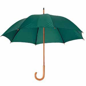 Зонт-трость механический, деревянная ручка зеленый с нанесением логотипа