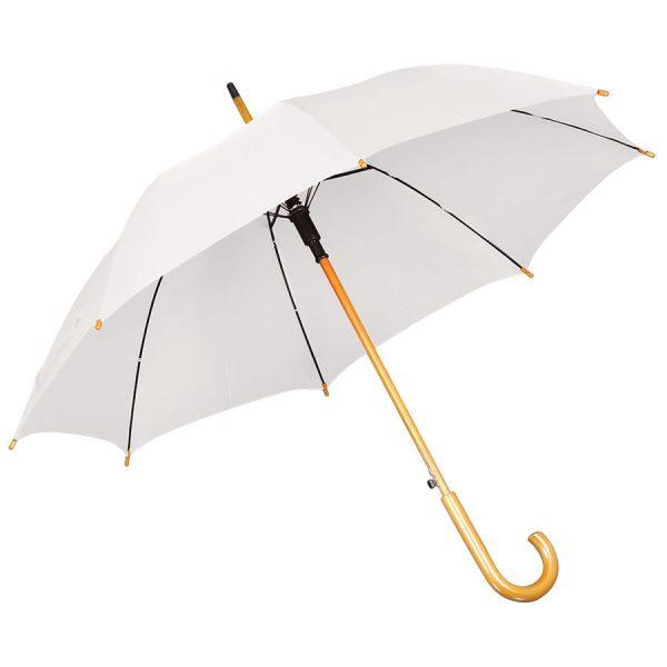 Зонт-трость с деревянной ручкой, полуавтомат белый с нанесением логотипа