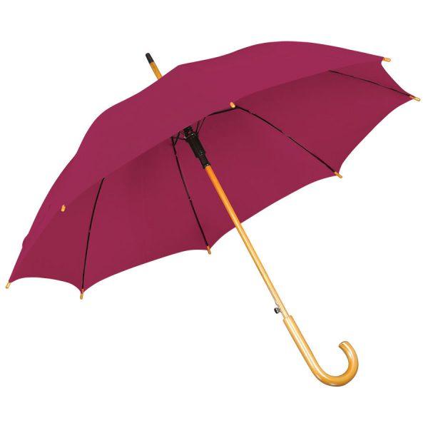 Зонт-трость с деревянной ручкой, полуавтомат бордовый с нанесением логотипа