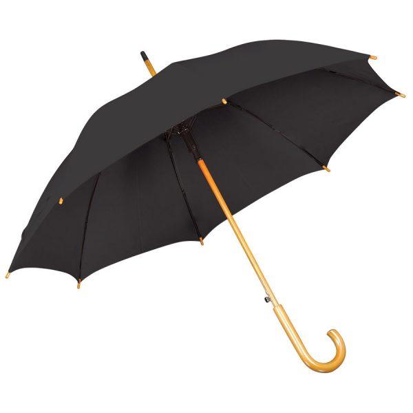Зонт-трость с деревянной ручкой, полуавтомат черный с нанесением логотипа