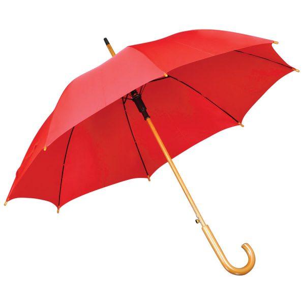 Зонт-трость с деревянной ручкой, полуавтомат красный с нанесением логотипа