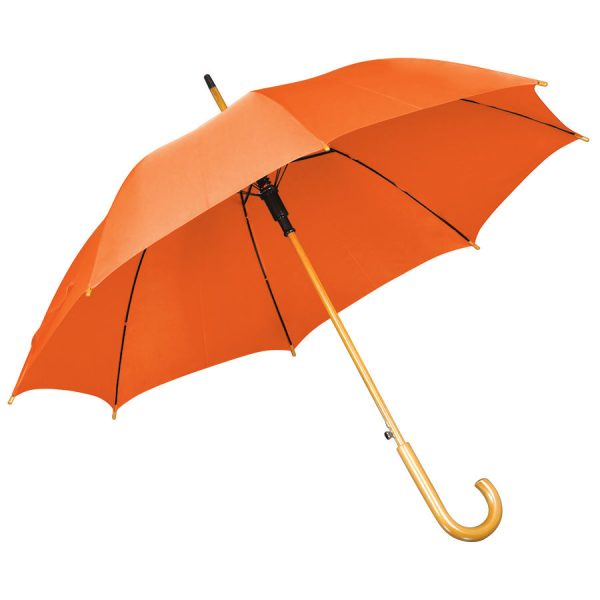 Зонт-трость с деревянной ручкой, полуавтомат оранжевый с нанесением логотипа