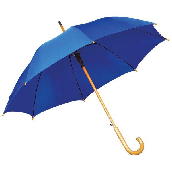 Зонт-трость с деревянной ручкой, полуавтомат синий с нанесением логотипа