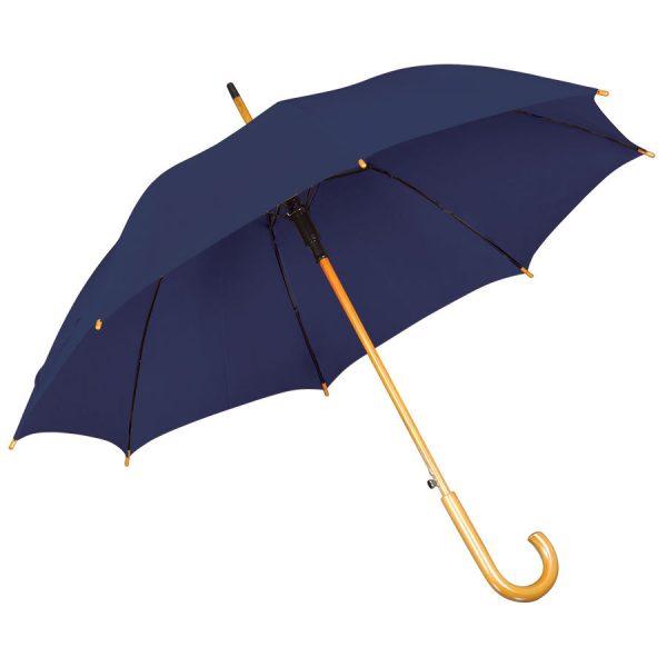 Зонт-трость с деревянной ручкой, полуавтомат темно-синий с нанесением логотипа