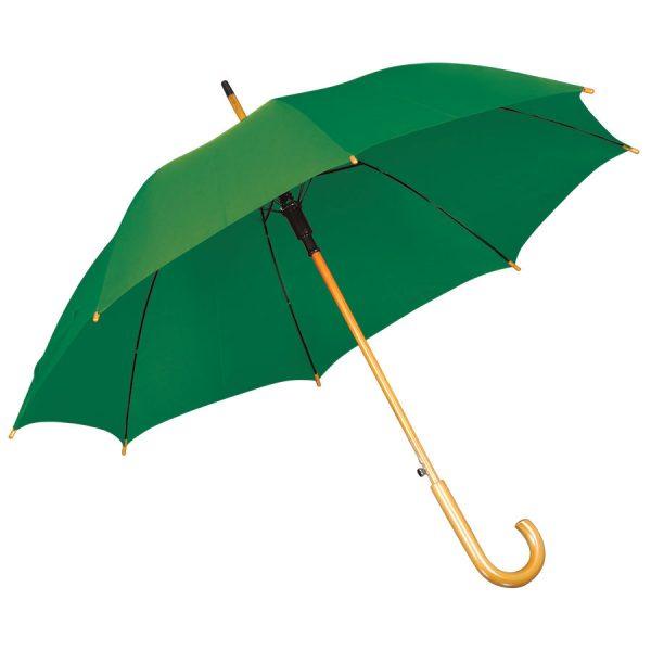 Зонт-трость с деревянной ручкой, полуавтомат зеленый с нанесением логотипа