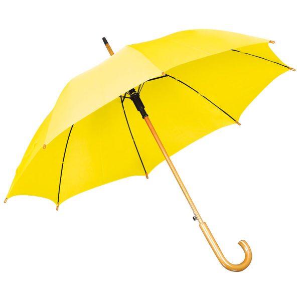 Зонт-трость с деревянной ручкой, полуавтомат желтый с нанесением логотипа