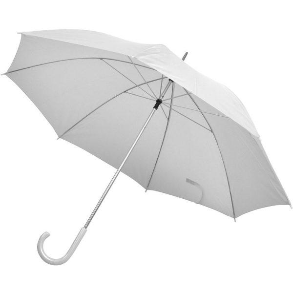 Зонт-трость с пластиковой ручкой, механический белый с нанесением логотипа
