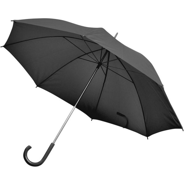 Зонт-трость с пластиковой ручкой, механический черный с нанесением логотипа