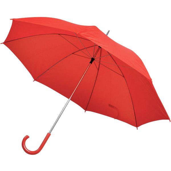 Зонт-трость с пластиковой ручкой, механический красный с нанесением логотипа