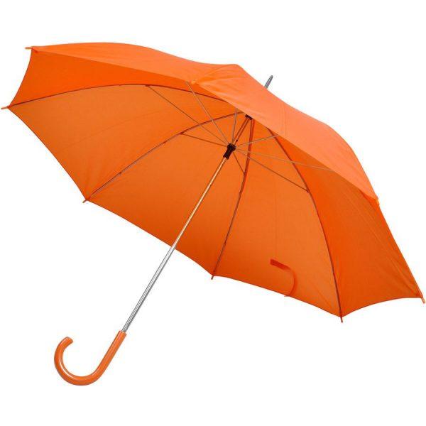 Зонт-трость с пластиковой ручкой, механический оранжевый с нанесением логотипа