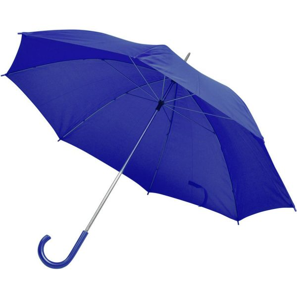 Зонт-трость с пластиковой ручкой, механический синий с нанесением логотипа